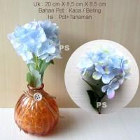 harga Pajangan Artificial Hydrangea Flower + Pot Kaca Type4 Tokopedia.com