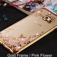 Jual Casing Samsung A8 2016/ A810 Silicon Soft Case Flower Bling Diamond Murah