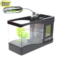 Aquarium mini meja + jam digital + pompa + ACC + LAMPU usb BLACK G944