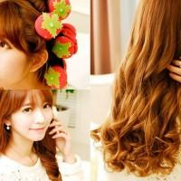 Magic Strawberry Roll Sponge Hair Curler (1 Pack = 6 Pcs) - Ikal Aman Tanpa Catok
