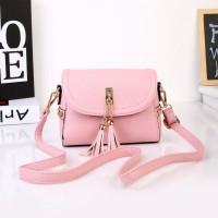 Tas Wanita Import C91721 Pink Sling Bag Rumbai Fringe Jeruk Korea H&M