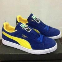 sepatu casual pria puma suede blue yellow ( PREMIUM )