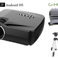 Jual PAKET HEMAT LED Mini Proyektor GP70up+ TAS + TRIPOD ( GHOLIC) Murah