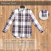Flanel Shirt Blue White - kemeja wanita - baju - baju panjang - atasan