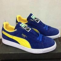 Sepatu casual skate pria puma suede blue yellow( PREMIUM)