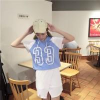 Setelan Rok Import - 25589 Blue Hooded Collage Top + Skirt