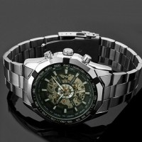 Jual Jam WINNER MEN skeleton Dial Automatic Mechanical StainlessSteel Murah