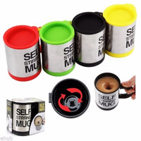Jual Gelas mug self stirring aduk Otomatis Stainless steel Coffee Magic Teh Murah