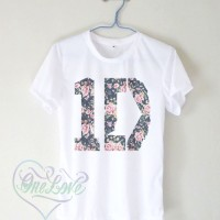 Kaos 1D One Direction Flowers Floral US Logo - Tumblr Tee, Kaos Logo