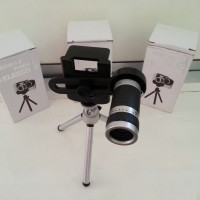 harga Lensa Tele Zoom + Tripod Untuk Kamera Handphone Teropong Teleskop 8x Tokopedia.com