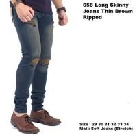 Jual celana panjang pria skinny jeans ripped / celana jeans sobek pria Murah