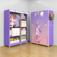 Jual 03 Multifunction Wardrobe Cloth Rack with cover lemari pakaian Murah