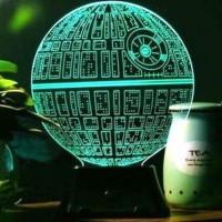 Jual 3D Star Wars Death Star Hologram LED Lampu Dekorasi Tidur Meja Murah