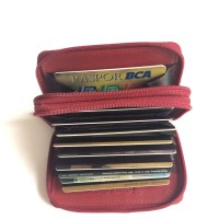 harga Double Zip Accordion Credit Card Holder with RFID/Red Tokopedia.com