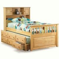 Tempat tidur, dipan, ranjang, minimalis kayu jati laci sorong anak
