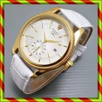 Rolex Fashion Cellini Kulit Putih   Jam Tangan Tanggal Kado Pria