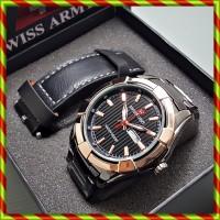 Swiss Army Paket Rantai + Kulit Black Gold   Free box Exclusive Kado