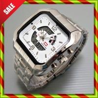 Swiss Time Army Rantai Kotak Silver White   Doubletime Digital