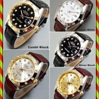 Rolex + Tanggal Automatic GMT Mata Kulit   Jam Tangan Otomatis