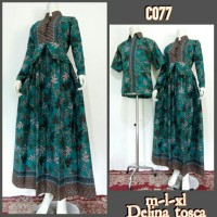 Baju Batik Couple Model Gamis Sarimbit Delina Toska