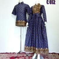 Baju Batik Couple Model Gamis Sarimbit Mahkota Biru