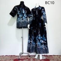 Baju Batik Couple Model Gamis Sarimbit Zakiya Biru