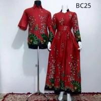 Baju Batik Couple Model Gamis Sarimbit Kipas Merah