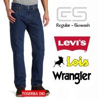 Jual Celana Jeans Panjang Pria Regular - Biowash Levis Lois - Wrangler N70 Murah