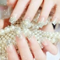 Wedding Fake Nail PREGLUED White Grey Kuku Palsu Pernikahan