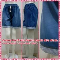 Celana Hot Pants Denim Renda Biru Muda | Jeans Paha Brukat Pendek Blue