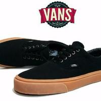 Sepatu Casual / Sepatu Vans Era Warna Hitam Sol Coklat / Gum , Sepatu