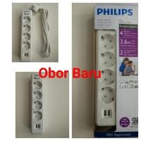 harga 1.Philips Stop Kontak 4 Lubang 3.6M + 2 USB - PSK4LU36 White Tokopedia.com