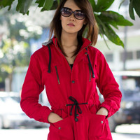 Jaket Parka Wanita Jacket Blessher Merah Kupluk Kanvas Canvas Murah