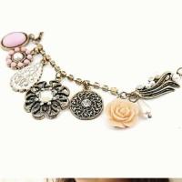 k146 kalung rangkaian bunga ornamen Murah