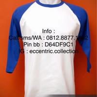 Kaos Raglan Putih-Biru Benhur Combed 20s, 30s Size ML