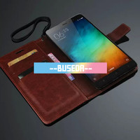 Harga leather case casing kulit flip wallet cover xiaomi redmi note 3 | Pembandingharga.com