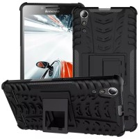 Hard Soft Case Lenovo A6000 Plus Casing HP Silikon Armor Stand Cover