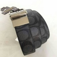 JUAL BELT COACH MEN CUT TO SIZE REVERSIBLE SIGN BLACK ORIGINAL ASLI