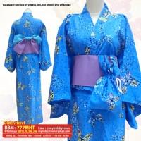 Yukata/Kimono Wanita : Blue Mozaic Butterfly