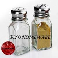 Set isi 2 Pcs Glass Salt Pepper Tempat Bumbu Lada Garam Merica Kaca
