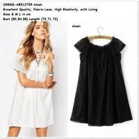 Baju Lace Mini Dress Sabrina Off Shoulder Hitam Wanita Korea Import