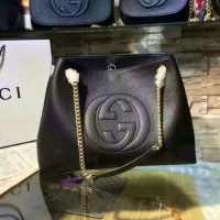 TAS GUCCI SOHO CHAIN LARGE BLACK. HIGH QUALITY. ORI LEATHER