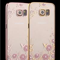 Casing Silicon Flower Bling Diamond Samsung S7 Edge Cover Soft Case