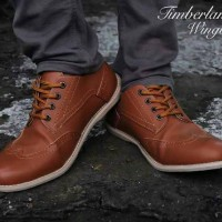 Sepatu timberland wingtip leather pull up/boot tracking outdoor pria
