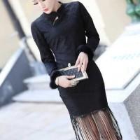 Fur Lace Fringed Cheongsam (BLACK) / Party Dress Korea - HQ 11680