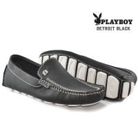 Sepatu Slop Pria Moccasin Playboy Black
