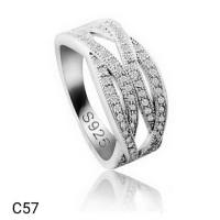 Cincin Perak Silver 925 Lapis Emas Putih Batu Cubic Zirconia AAA C57