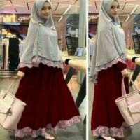 gamis dan hijab / abu maroon / baju muslim syar i