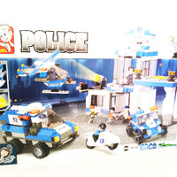 Blok Lego Sluban - Police Station And Vehicles Set Blocks (M38-B0192)