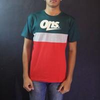 Baju Kaos Lengan Pendek Hijau Merah Oneninesix